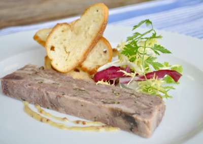 Cured Venison, Green Peppercorn and Red Onion Marmalade Terrine