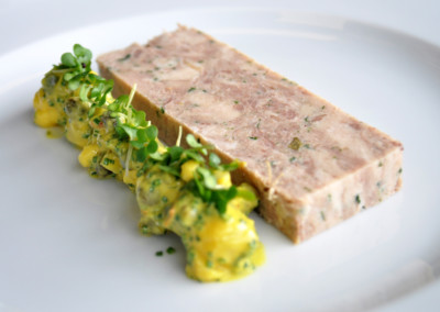Slow Cooked Pork Belly and Confit Duck Terrine