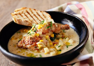 Chicken with Sweetcorn and Pancetta Chowder Sauce